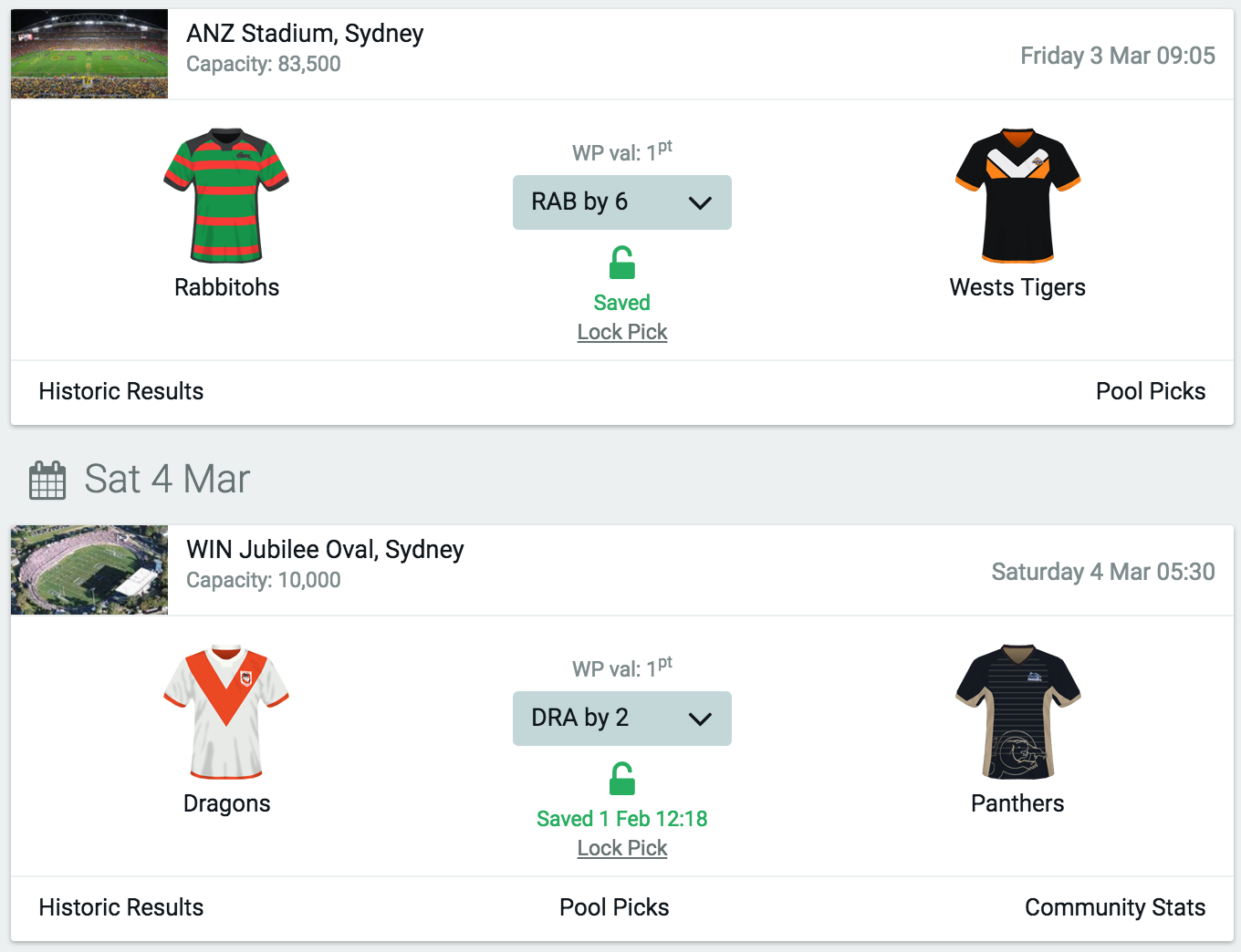 <br/>Predict the NRL matches each week - tip the winner and winning margin.